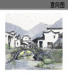 古镇风景手绘