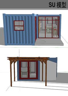 蓝色集装箱改造休闲房
