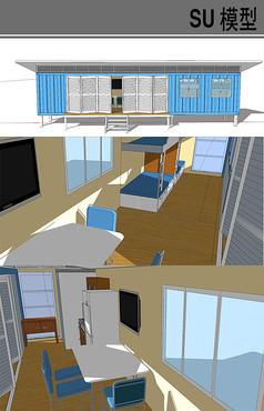 简约白蓝色集装箱改造房