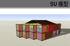红色集装箱建筑仓库模型