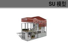 现代小建筑集装箱模型