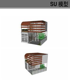 旋转楼梯建筑集装箱模型