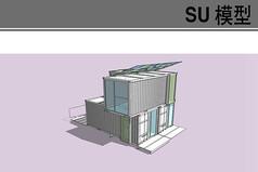 現代白色集裝箱建筑