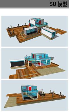 带点中式风格集装箱建筑