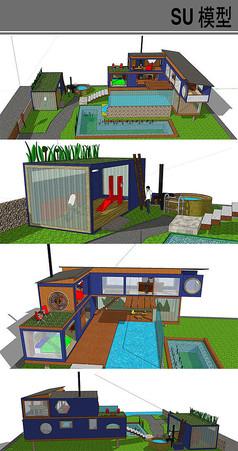 集装箱改造东南亚风格别墅庭院