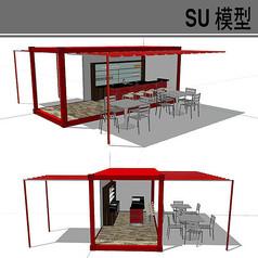 红色集装箱改造露天酒吧