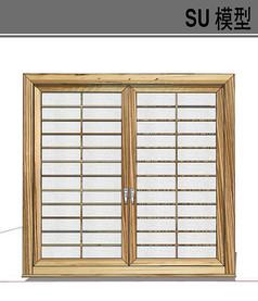 日式木质双门窗户