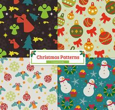 可爱圣诞节无缝背景矢量素材