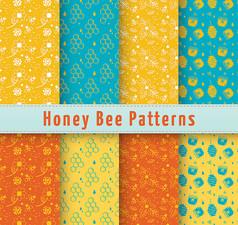 彩色蜜蜂元素无缝背景矢量图