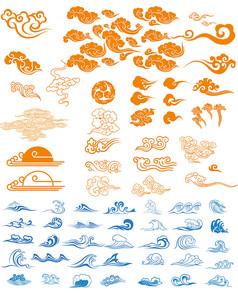 国风祥云传统云朵纹样印花矢量图