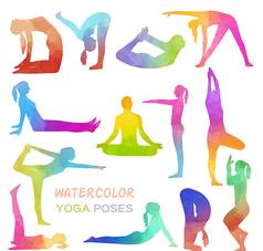13款彩色瑜伽人物姿势剪影矢量