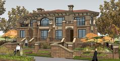 欧式双拼别墅模型