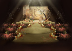 中式复古小清新婚礼效果图