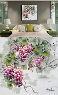 中式工笔画葡萄步步高升装饰画