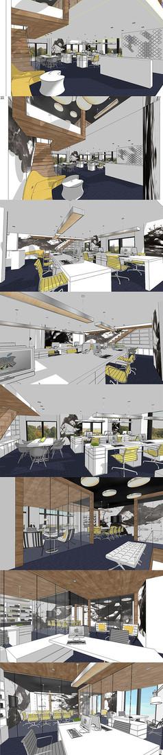 现代办公空间设计SU模型