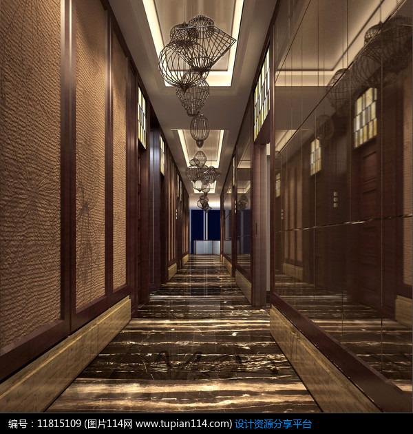 [原创] 酒店新中式走廊效果图