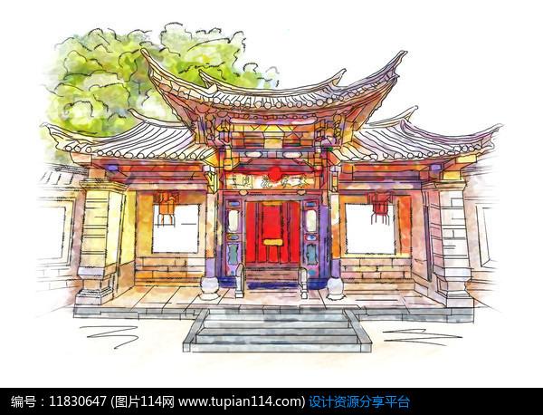 相关素材 手绘古建筑大门大宅门插画笔法考究屋檐楼阁朱门