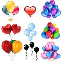 节日庆典海报彩色心形气球素材