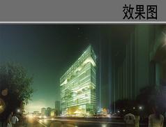植物贴附建筑夜景效果图