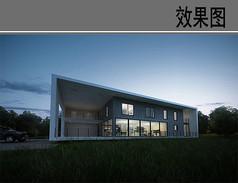白色长方形别墅住宅效果图