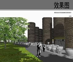 南风古灶片区古代建筑物效果图