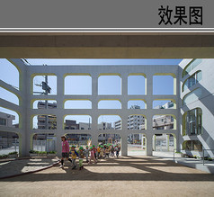幼儿园建筑内庭院透视图