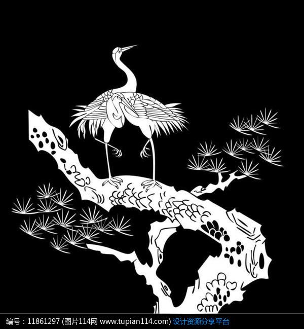 [原创] 松鹤呈祥雕刻图案