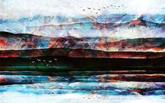 高清艺术抽象山水电视背景墙