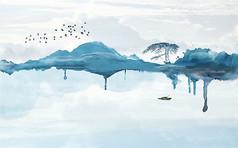 中式抽象水墨山水背景墙装饰画