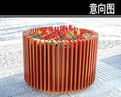 圆形木制花池