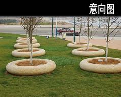 圆弧形花池