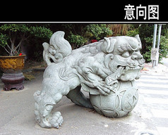 石狮子雕塑小品