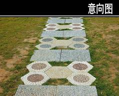 方圆形石头汀步铺装