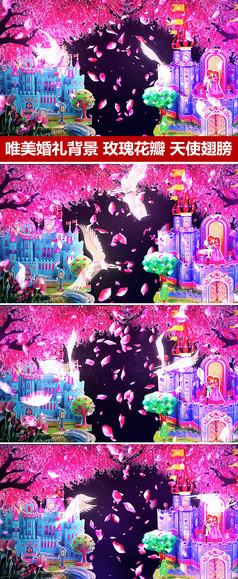 玫瑰花瓣城堡婚庆背景视频素材