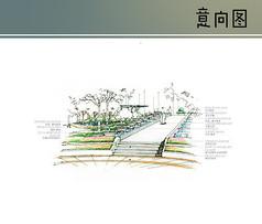 创意花坛水景手绘图