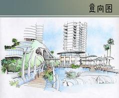 住宅区水景意向图