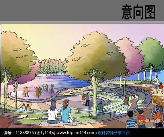 [原创] 下沉广场手绘效果图