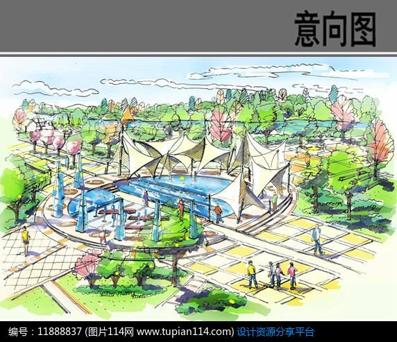 [原创] 中心喷泉广场手绘效果图