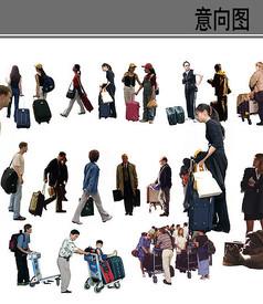 拿着行李箱的人物素材