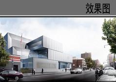 警察局建筑设计街景效果图