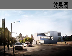 警察局建筑设计黄昏效果图