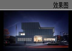 警察局建筑设计夜景效果图