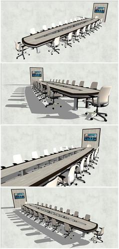 精品长会议桌椅SU模型