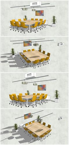 精品会议桌椅SU模型