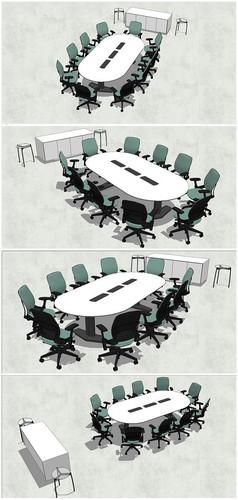 精品椭圆形会议桌SU模型