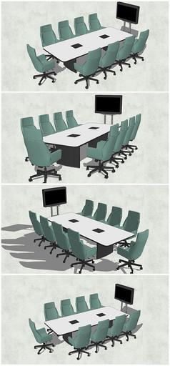 精品长方形会议桌椅SU模型