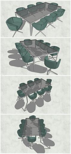 精品会议室玻璃桌椅SU模型