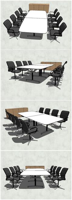精品谈判会议桌椅SU模型