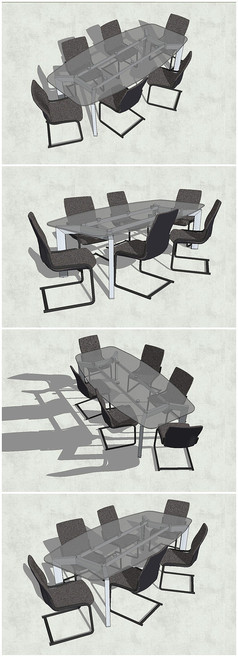 精品透明玻璃桌SU模型
