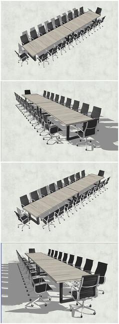 精品长会议桌SU模型
